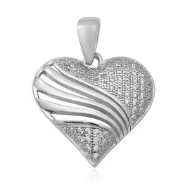 ELANZA Simulated Diamond Heart Pendant in Rhodium Overlay Sterling Silver