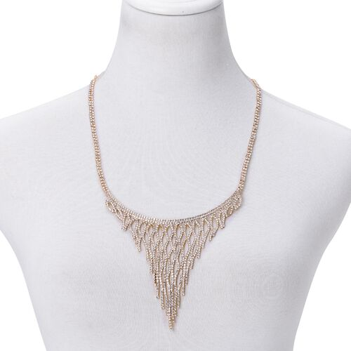 AAA White Austrian Crystal Chandelier Necklace (Size 20 with 6 inch Extender) in Yellow Gold Tone