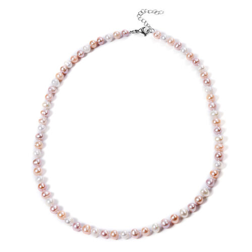2 Piece Set -  Peach and Multi Colour Freshwater Pearl  Neckalce (Size 20 with 2 inch Extender) and Hook Earrings