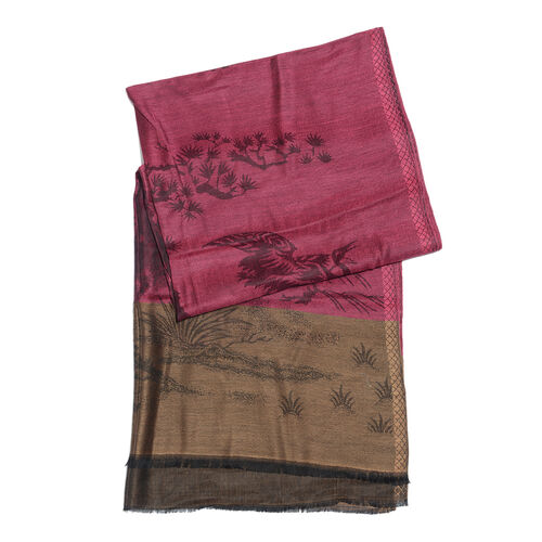 Fuchsia, Black and Multi Colour Flower Pattern Jacquard Scarf (Size 190x70 Cm)