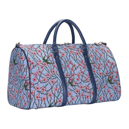 Signare Tapestry - 2 Piece Set - Blossom and Swallow Travel Bag (56X29X33cm) and Sling Bag (56X29X33cm) in Light Blue