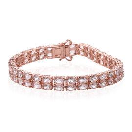 16.98 Ct Marropino Pink Morganite Tennis Bracelet in Rose Gold Plated Silver 16 Grams 6.5 Inch
