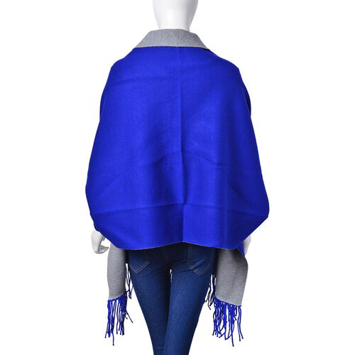 Designer Inspired - Blue Colour Longer Line Reversible Kimono with Tassels (Free Size)