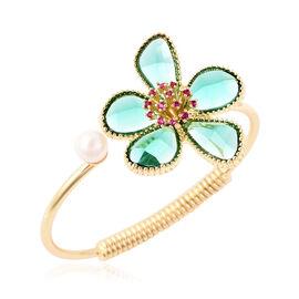Fuchsia Colour Austrian Crystal, Simulated Emerald and White Shell Pearl Floral Cuff Bangle (Size 7.