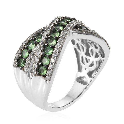 Designer Inspired-Tsavorite Garnet (Rnd), Natural Cambodian Zircon Criss Cross Ring in Platinum and Black Rhodium Overlay Sterling Silver Ring 2.000 Ct. Silver wt 6.53 Gms. Stone Set 90 Pcs