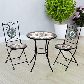 3 Piece Set - Geometric Shape Pattern Mosaic Bistro Set Table (Size:60x60x70Cm) and 2 Chairs (Size:3