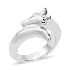 Fox Head Ring in Rhodium Plated Sterling Silver 5.10 Grams