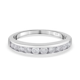 1 Carat Diamond Half Eternity Band Ring in 9K White Gold