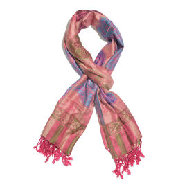Close Out Deal- Salmon Pink, Green and Multi Colour Flower and Leaf Pattern Jacquard Scarf (Size 180