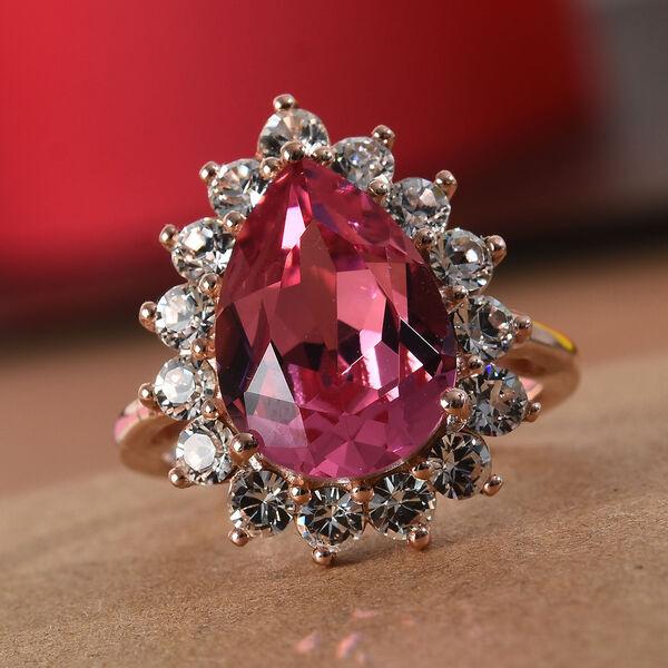 J Francis - Crystal from Swarovski Rose Colour Crystal and White Colour Crystal Ring in Rose Gold Ov