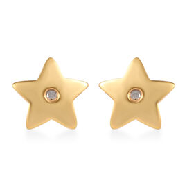 Diamond Star Stud Earrings in 14K Gold Plated Sterling Silver