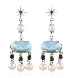 GP - Larimar, Freshwater Pearl and Multi Gemstone Earrings (with Push Back) in Platinum Overlay Ster