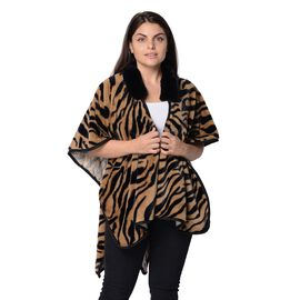 Tiger Pattern Winter Kimono with Faux Fur Collar (Size 79x99 Cm) - Brown and Black
