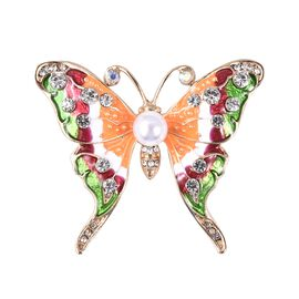 Simulated Pearl, White Austrian Crystal and Natural Crystal Quartz Butterfly Brooch in Gold Tone wit