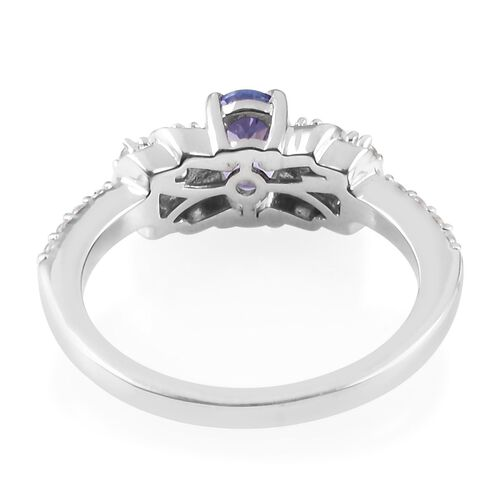 Tanzanite (Ovl), Natural Cambodian Zircon Ring in Platinum Overlay Sterling Silver 0.91 Ct.