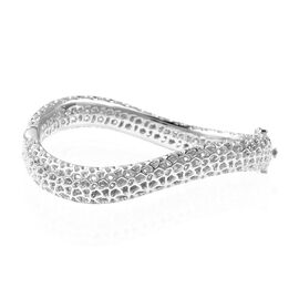 RACHEL GALLEY Rhodium Overlay Sterling Silver Lattice Wave Bangle (Size 7), Silver wt 29.60 Gms.