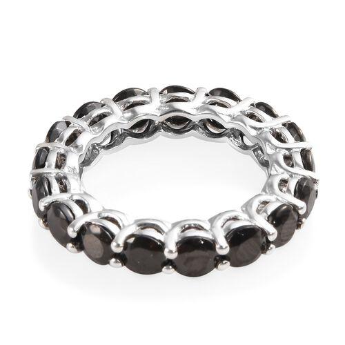 Elite Shungite (Rnd) Band Ring in Platinum Overlay Sterling Silver 3.500 Ct.