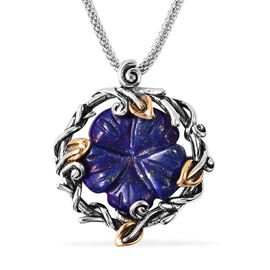 Lapis Lazuli Carved Floral Necklace (Size 20) in Stainless Steel 10.00 Ct.