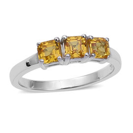 One Time Deal-  Chanthaburi Yellow Sapphire (Asscher Cut) Trilogy Ring in Rhodium Overlay Sterling S