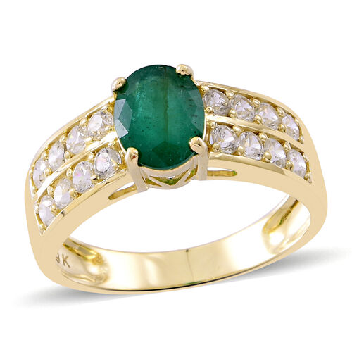 9K Yellow Gold AAA Rare Size Kagem Zambian Emerald (Ovl 1.75 Ct), Natural White Cambodian Zircon Ring 3.500 Ct.