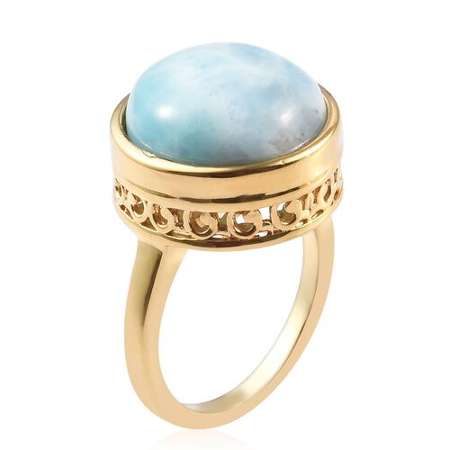 Larimar Solitaire Ring 14K Gold Overlay Sterling Silver 7.75 Ct.