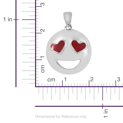 Platinum Overlay Sterling Silver Smiling Face with Heart-Eyes Smiley Pendant