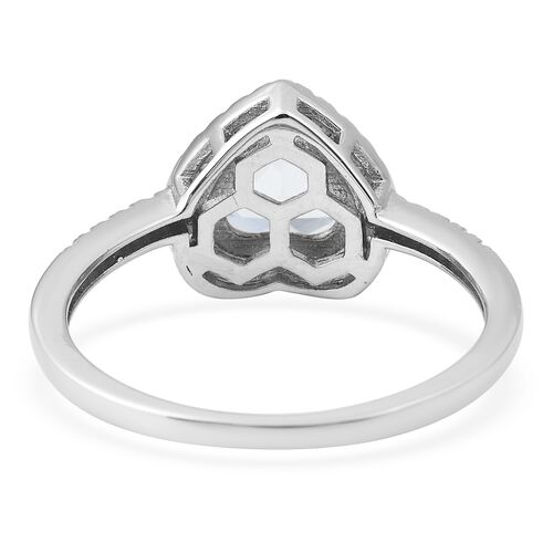 Lustro Stella Simulated Green Spinel (Hrt) and Simulated Diamond Ring in Rhodium Overlay Sterling Silver