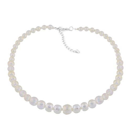 3 Piece Set - Simulated Champagne Topaz Beaded Necklace (Size 20 with 3 inch Extender), Stretchable Bracelet (Size 6.5) and Hook Earrings in Silver Tone