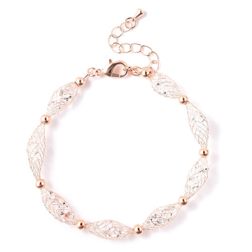 White Austrian Crystal Bracelet (Size 7.5 with 2 inch Extender) in Rose Gold Tone