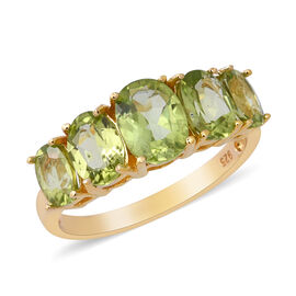 4.19 Ct Hebei Peridot 5 Stone Ring in Gold Plated Sterling Silver