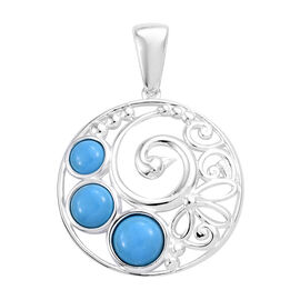 1.75 Ct Blue Howlite Peacock Design Pendant in Sterling Silver