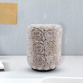 Bali Collection - Decorative Rose Pattern Shell Lamp (Size 23X17X15Cm) - White