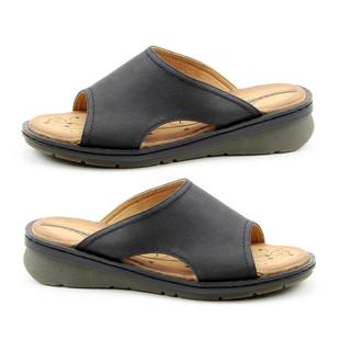 Heavenly Feet Womens Ginger Memory Foam Sandal in Black (Size 3)