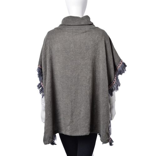 Grey and White Colour Stars Pattern Turtle Neck Poncho with Tassels (Free Size)