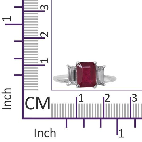 9K White Gold AAA African Ruby (Oct 8x6mm), Natural Cambodian Zircon Trilogy Ring 3.70 Ct.