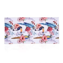 Printed Towel with Bird Pattern (Size 71x144.7 Cm) - White and Multi Colour