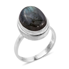 Royal Bali Collection Labradorite (Ovl 16x12 mm) Solitaire Ring in Sterling Silver 11.230 Ct.