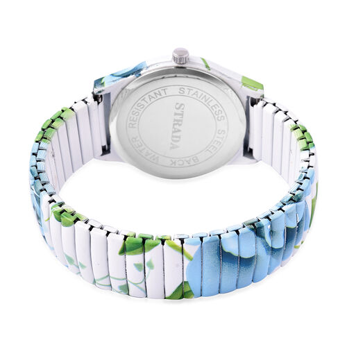 STRADA Japanese Movement Blue Floral Pattern Water Resistant Watch with Stretchable Strap (Size 6.5-7)