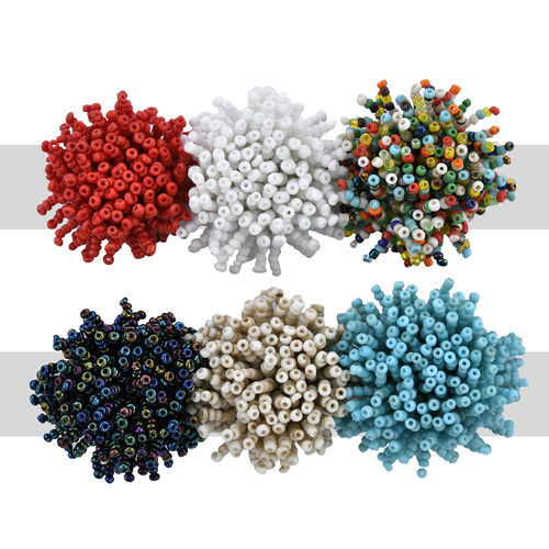 Set of 6 - Multicolour Seed Beads Cluster Stretchable Ring