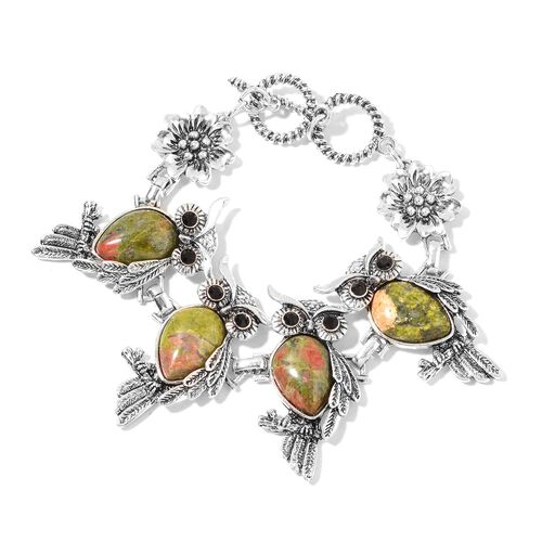 2 Piece Set - Unakite and Black Austrian Crystal Owl Bracelet (Size 7.5) and Hook Earrings 75.00 Ct.