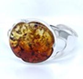 Natural Bi-Colour Baltic Amber Bangle (Size 7) in Sterling Silver, Silver wt 12.10 Gms