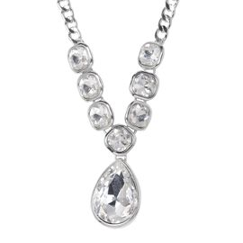 Designer Inspired-Simulated Diamond (Pear and Cush) Necklace (Size 20 with 2 inch Extender) in Silve