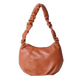 Super Soft Tan Hobo Bag with Zipper Closure (Size 18x9x19cm)