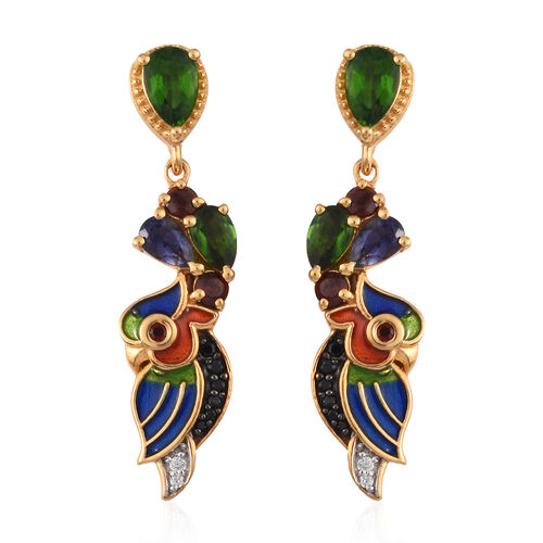 GP 2.25 Ct Russian Diopside and Multi Gemstone Dangle Earrings in Gold Plated Silver