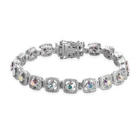 J Francis White Crystal from Swarovski Tennis Design Bracelet in Platinum Plated 7.5 Inch