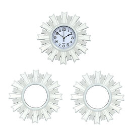 3 Piece Set - Silver Roma Wall Clock with Mirrors (Size 26x26cm/Pcs)