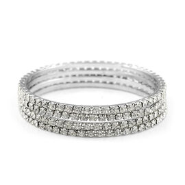 One Time Close Out - 4 Piece Set Simulated Diamond (Rnd) Bangle (Size 7.25) in Silver Tone