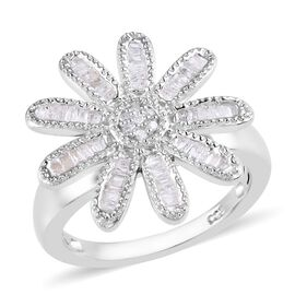Diamond (Rnd and Bgt) Floral Ring in Platinum Overlay Sterling Silver 0.33 Ct, Silver wt 5.00 Gms