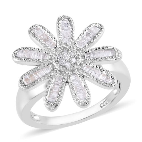 0.33 Ct Diamond Floral Ring in Platinum Plated Sterling Silver 5 Grams