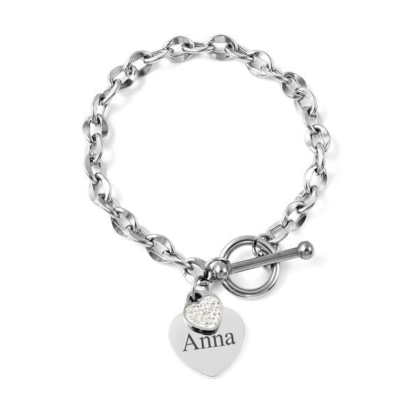 Personalised Engravable Double Heart Name Bracelet, Size 7 Inch, Stainless Steel